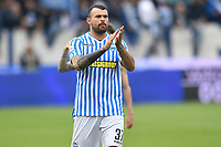 Andrea Petagna of SPAL celebrates the victory at the end of the match <br /> Ferrara 13-4-2019 Stadio Paolo Mazza Football Serie A 2018/2019 SPAL - Juventus <br /> Foto Andrea Staccioli / Insidefoto