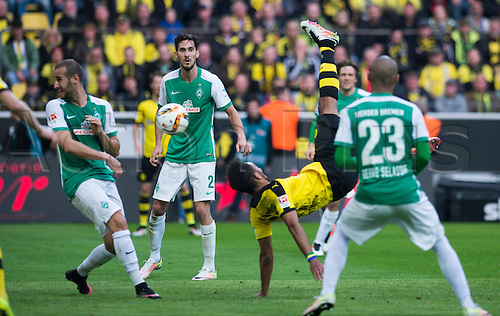 02.04.2016. Dortmund, Germany.  Dortmud's Pierre-Emerick Aubameyang and Bremen's Alejandro Galvez , Santiago Garcia and Theodor Gebre Selassie (L-R) vie for the ball during the German Bundesliga match between Borussia Dortmund and Werder Bremen in Signal Iduna Park in Dortmund, Germany, 02 April 2016.