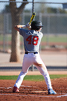 Connor Moylan (48), from Novato, California, while playing for the Indians during the Under Armour Baseball Factory Recruiting Classic at Red Mountain Baseball Complex on December 29, 2017 in Mesa, Arizona. (Zachary Lucy/Four Seam Images)