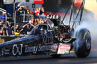 Feb 6, 2015; Pomona, CA, USA; NHRA top fuel driver Dave Connolly during qualifying for the Winternationals at Auto Club Raceway at Pomona. Mandatory Credit: Mark J. Rebilas-