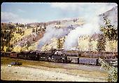 D&amp;RGW #492 K-37 and #497 K-37 with caboose at Lobato stock pens.<br /> D&amp;RGW  Lobato stock pens, NM  10/6/1962