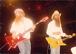 ZZ Top performing live at Madison Square Garden, NYV, June 1983.