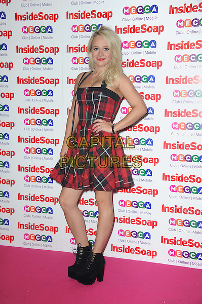 Kirsty-Leigh Porter<br /> Inside Soap Awards at Ministry Of Sound, London, England.<br /> 21st October 2013<br /> full length red black plaid tartan dress hand on hip boots<br /> CAP/DS<br /> &copy;Dudley Smith/Capital Pictures