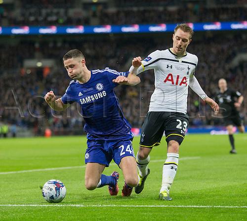01.03.2015.  London, England. Capital One Cup Final. Chelsea versus Tottenham Hotspur. Chelsea's Gary Cahill battles with Tottenham Hotspur's Christian Eriksen.