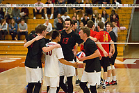 STANFORD, CA - January 2, 2018: Eric Beatty, Evan Enriques, Kevin Rakestraw, Eli Wopat at Burnham Pavilion. The Stanford Cardinal defeated the Calgary Dinos 3-1.