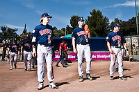 24 May 2009: Luc Piquet, Ian Young, Dany Scalabrini, of Rouen, are seen prior to the final game during the 2009 challenge de France, a tournament with the best French baseball teams - all eight elite league clubs - to determine a spot in the European Cup next year, at Montpellier, France. Rouen wins 7-5 over Savigny.