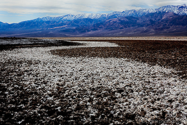 Salt pan and mountains at Badwater, Death Valley, California