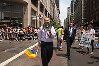 US Senator Chuck Schumer in the 44th annual Lesbian, Gay, Bisexual and Transgender Pride Parade on Fifth Avenue in New York on Sunday, June 30, 2013. The turn out for the parade was especially large with the recent Supreme Court decision overturning the Defense of Marriage Act (DOMA) and California's Proposition 8.  (© Richard B. Levine)