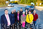 Mayor Niall Kelleher, with Siobhain O'Shea, Moss Harmon, Maura O'Sullivan, John and Mary Harmon,  Linda Gordon, Suzanne Dennehy, Killarney and Cllr John Joe Culloty who have started a petition against the Lewis Road junction on the Killarney by pass road
