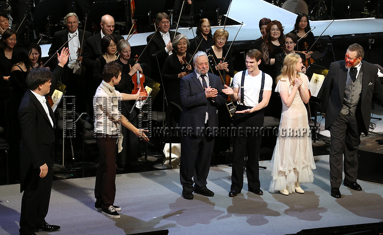 Kyle Brenn, Alan Gilbert, Stephen Sondheim, Jay Armstrong Johnson, Erin Mackey performing in the Opening Night Gala Performance of the New York Philharmonic staged production of 'Sweeney Todd: The Demon Barber of Fleet Street'  at Avery Fisher Hall on March 5, 2014 in New York City.