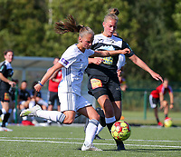 20190921 – LEUVEN, BELGIUM : OHL's Zoe Dejarden and E. Aalst's Margaux van Ackere are pictured in a duel during a women soccer game between  Oud Heverlee Leuven Ladies B and Eendracht Aalst Ladies on the fourth matchday of the Belgian Division 1 season 2019-2020, the Belgian women's football  national division 1, Saturday 21th September 2019 at the Bruinveld Youth Complex, Domeinstraat in Leuven , Belgium. PHOTO SPORTPIX.BE | SEVIL OKTEM