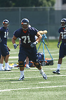 Virginia offensive lineman Matt Mihalik during open spring practice for the Virginia Cavaliers football team August 7, 2009 at the University of Virginia in Charlottesville, VA. Photo/Andrew Shurtleff