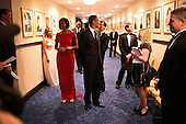 United States President Barack Obama and First Lady Michelle Obama wait in a hallway at the Washington Hilton Hotel in Washington, D.C., moments before taking the stage at the White House Correspondents Association dinner, Saturday, May 1, 2010. .Mandatory Credit: Lawrence Jackson - White House via CNP