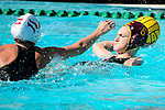 LOS ANGELES, CA - MAY 13: Maud Megens #6 of the University of Southern California attempts a pass over Makenzie Fischer #11 of Stanford University during the Division I Women's Water Polo Championship held at the Uytengsu Aquatics Center on the USC campus on May 13, 2018 in Los Angeles, California. USC defeated Stanford 5-4. (Photo by Tim Nwachukwu/NCAA Photos via Getty Images)