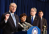 United States Senator Chuck Schumer (Democrat of New York), left, joined with bi-partisan colleagues at a Capitol Hill press conference in Washington, DC on April 2, 2003.   Schumer, who was joined by US Senator Barbara Boxer (Democrat of California), center left, US Representative Steve Israel (Democrat of New York), center right, and US Representative John Mica (Republican of Florida), right, said they would seek $30 million in the supplemental appropriations bill to research, develop, and begin deploying technology to protect commercial aircraft from the threat posed by shoulder-fired missiles.<br /> Credit: Ron Sachs / CNP<br /> (RESTRICTION: NO New York or New Jersey Newspapers or newspapers within a 75 mile radius of New York City)
