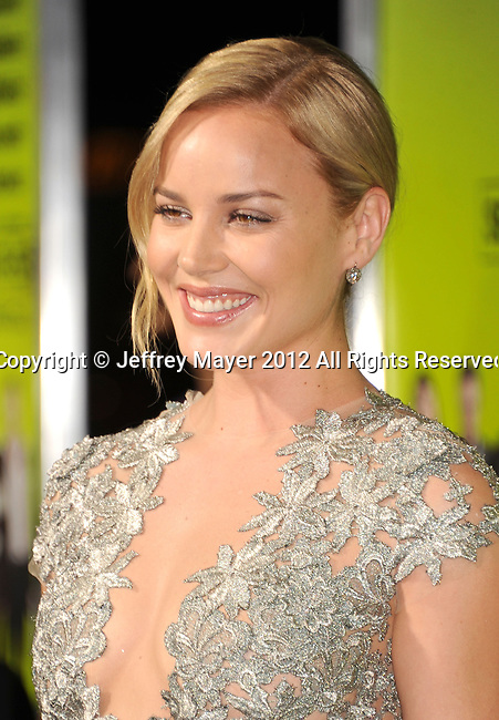 WESTWOOD, CA - OCTOBER 01: Abbie Cornish arrives at the Los Angeles premiere of 'Seven Psychopaths' at Mann Bruin Theatre on October 1, 2012 in Westwood, California.