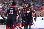 07.09.2014. Barcelona, Spain. 2014 FIBA Basketball World Cup, round of 8. Picture show J. Harden and K. Faried in action during game between Slovenia v Usa at Palau St. Jordi.