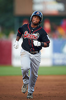 Great Lakes Loons designated hitter Willie Calhoun (3) runs the bases after hitting a home run during a game against the Kane County Cougars on August 13, 2015 at Fifth Third Bank Ballpark in Geneva, Illinois.  Great Lakes defeated Kane County 7-3.  (Mike Janes/Four Seam Images)