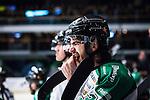 Stockholm 2014-03-21 Ishockey Kvalserien AIK - R&ouml;gle BK :  <br /> R&ouml;gles Almen Bibic k&auml;nner p&aring; sina t&auml;nder i b&aring;set under matchen<br /> (Foto: Kenta J&ouml;nsson) Nyckelord:  portr&auml;tt portrait skada skadan ont sm&auml;rta injury pain