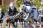 Los Angeles, CA 03/12/16 - Trevin Roberts (Utah State #16) and Michael Hoffman (Loyola Marymount #28) in action during the Utah State vs Loyola Marymount MCLA Men's Division I game at Leavey Field at LMU.  Utah State defeated LMU 17-4.