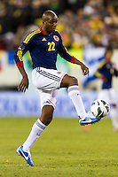 Aquivaldo Mosquera (22) of Colombia. Brazil (BRA) and Colombia (COL) played to a 1-1 tie during international friendly at MetLife Stadium in East Rutherford, NJ, on November 14, 2012.