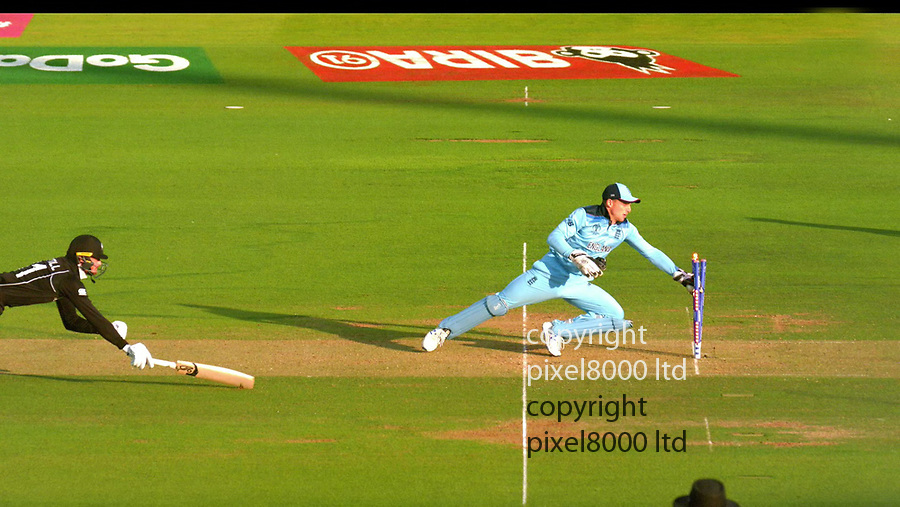 Pic shows: Eng v NZ Cricket final<br /> <br /> Guptill	run out (Roy) so England in the World Cup<br /> <br /> supplied by Pixel8000 Ltd