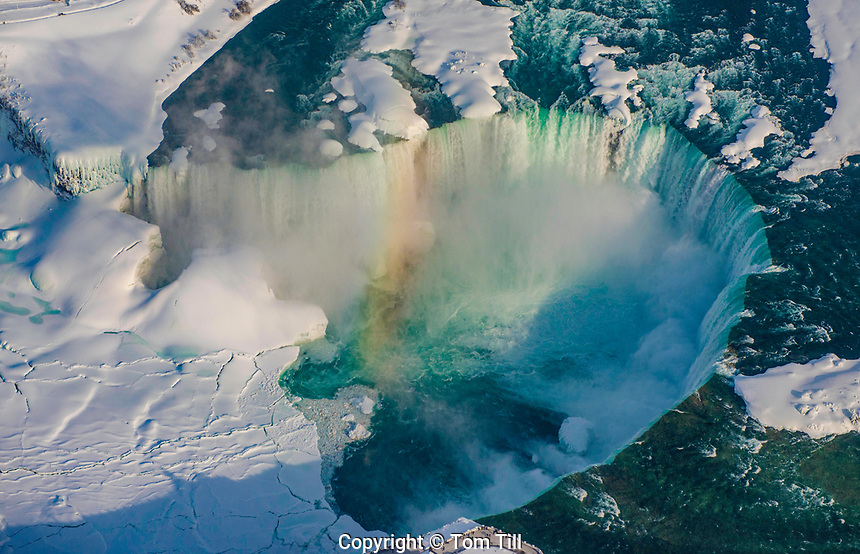 Horseshoe or Canadian Falls, Niagara Parks, Ontario, Canada  Niagara Canada Aerial view in winter