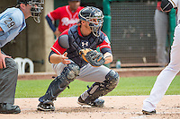 John Hicks (6) of the Tacoma Rainiers on defense against the Salt Lake Bees in Pacific Coast League action at Smith's Ballpark on May 7, 2015 in Salt Lake City, Utah. The Bees defeated the Rainiers 11-4 in the completion of the game that was suspended due to weather on May 6, 2015.(Stephen Smith/Four Seam Images)