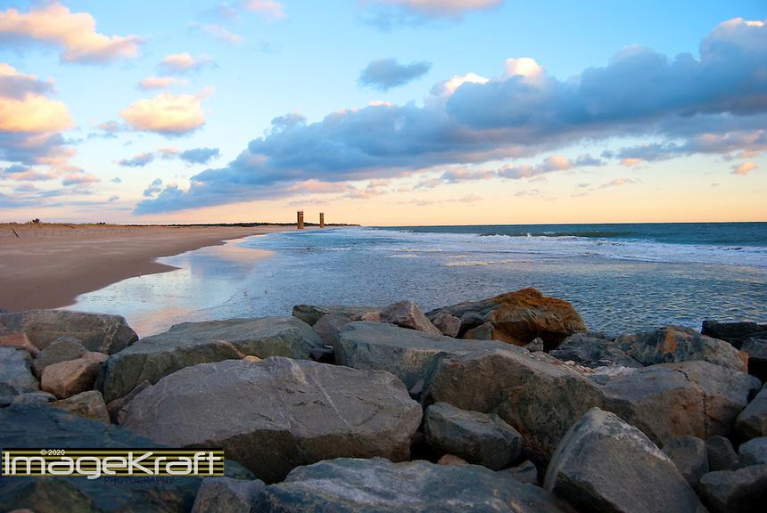 Cape Henlopen rocks at daybreak