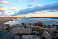 Cape Henlopen rocks at daybreak