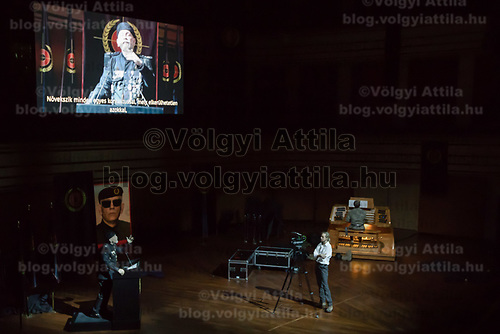 US actor John Malkovich (bottom right) plays a dictator in his piece Just Call Me God in Budapest, Hungary on April 4, 2017. ATTILA VOLGYI