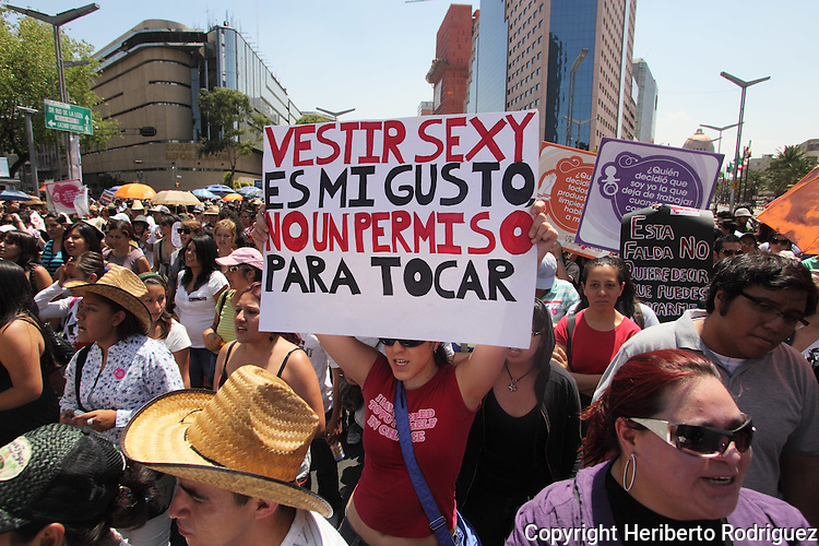 Mexican demonstrators stage a rally against sexism and named The Slut Rally on main Mexico City's thoroughfares, June 12, 2011. Hundreds of women protested agains the sexual harrasment, rape and violence against women. Photo by Heriberto Rodriguez