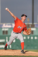 Dan Tobik #24 of the Inland Empire 66ers pitches during a playoff game against the Lancaster JetHawks at The Hanger on September 7, 2014 in Lancaster, California. Lancaster defeated Inland Empire, 5-2. (Larry Goren/Four Seam Images)