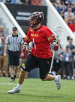 Baltimore, MD - April 28, 2018: Maryland Terrapins Connor Kelly (1) in action during game between John Hopkins and Maryland at  Homewood Field in Baltimore, MD.  (Photo by Elliott Brown/Media Images International)