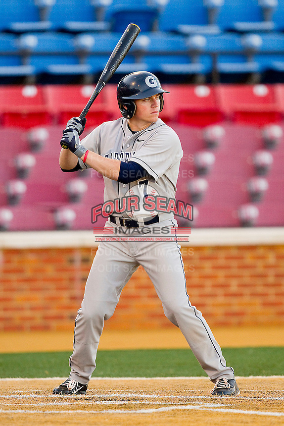 Andy Lentz #7 of the Georgetown Hoyas at bat against the Wake Forest Demon Deacons at Wake Forest Baseball Park on February 26, 2012 in Winston-Salem, North Carolina.  The Demon Deacons defeated the Hoyas 5-2.  (Brian Westerholt / Four Seam Images)