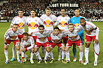 03 November 2012: New York's starters. Front row (left to right): Joel Lindpere (EST), Teemu Taino (FIN), Tim Cahill (AUS), Connor Lade, Dax McCarty, Thierry Henry (FRA). Back row: Sebastien Le Toux (FRA), Heath Pearce, Markus Holgersson (SWE), Rafa Marquez (MEX), Luis Robles. DC United played New York Red Bulls at RFK Stadium in Washington, DC in the first leg of their 2012 MLS Cup Playoffs Eastern Conference Semifinal series. The game ended in a 1-1 tie.
