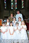 The pupils of St Josephs N.S. Cahersiveen who made their 1st Holy Communion on Saturday last were front l-r, Doora O'Brien, Aoibhe o'Connor, Rebecca Thompson, Jessica O'Connor, Middle l-r, Leah Brennan Stacey O'Sullivan, Jade Cooke, back Margaret Browne & Cannon Billy Crean.