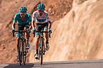 Miguel Angel Lopez Moreno (COL) and Alexey Lutsenko (KAZ) Astana Pro Team climb the Green Mountains during Stage 5 of the 2018 Tour of Oman running 152km from Sam'il to Jabal Al Akhdhar. 17th February 2018.<br /> Picture: ASO/Muscat Municipality/Kare Dehlie Thorstad | Cyclefile<br /> <br /> <br /> All photos usage must carry mandatory copyright credit (&copy; Cyclefile | ASO/Muscat Municipality/Kare Dehlie Thorstad)