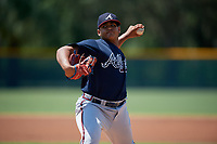 GCL Braves pitcher Miguel Jerez (33) during a Gulf Coast League game against the GCL Pirates on July 30, 2019 at Pirate City in Bradenton, Florida.  GCL Braves defeated the GCL Pirates 10-4.  (Mike Janes/Four Seam Images)