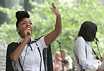 Janelle Monae performs during CarolinaFest ahead of the Democratic National Convention in downtown Charlotte, NC, on Monday, Sept. 3, 2012.