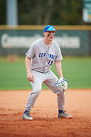 Central Connecticut State Blue Devils infielder Buddy Dewaine (15) during warmups before a game against the North Dakota State Bison on February 23, 2018 at North Charlotte Regional Park in Port Charlotte, Florida.  North Dakota State defeated Connecticut State 2-0.  (Mike Janes/Four Seam Images)
