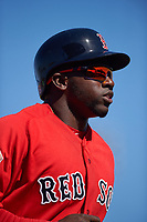 Boston Red Sox center fielder Rusney Castillo (38) during a Spring Training game against the Pittsburgh Pirates on March 9, 2016 at McKechnie Field in Bradenton, Florida.  Boston defeated Pittsburgh 6-2.  (Mike Janes/Four Seam Images)
