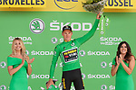 Mike Theunison (BEL) retains the points Green Jersey after his Team Jumbo-Visma win Stage 2 of the 2019 Tour de France a Team Time Trial running 27.6km from Bruxelles Palais Royal to Brussel Atomium, Belgium. 7th July 2019.<br /> Picture: Colin Flockton | Cyclefile<br /> All photos usage must carry mandatory copyright credit (© Cyclefile | Colin Flockton)