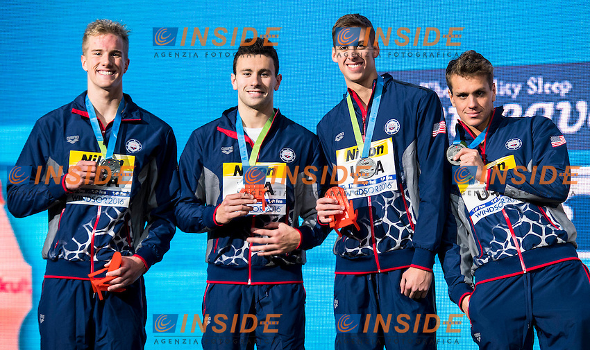 USA Silver Medal<br /> POWERS Paul Quinn PIERONI Blake CHADWICK Michael Hunt <br /> SHIELDS Tom <br /> Men's 4x50m Freestyle<br /> 13th Fina World Swimming Championships 25m <br /> Windsor  Dec. 9th, 2016 - Day04 Finals<br /> WFCU Centre - Windsor Ontario Canada CAN <br /> 20161209 WFCU Centre - Windsor Ontario Canada CAN <br /> Photo &copy; Giorgio Scala/Deepbluemedia/Insidefoto
