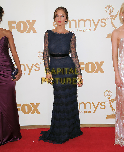 Minka Kelly (wearing Christian Dior).The 63rd Annual Primetime Emmy.Awards held at Nokia Theatre L.A. Live in Los Angeles, California, USA..September  18th, 2011.emmys full length blue lace dress black tiered layered layeres.CAP/RKE/DVS.©DVS/RockinExposures/Capital Pictures.