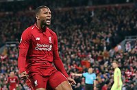 Liverpool's Georginio Wijnaldum celebrates scoring his side's third goal <br /> <br /> Photographer Rich Linley/CameraSport<br /> <br /> UEFA Champions League Semi-Final 2nd Leg - Liverpool v Barcelona - Tuesday May 7th 2019 - Anfield - Liverpool<br />  <br /> World Copyright &copy; 2018 CameraSport. All rights reserved. 43 Linden Ave. Countesthorpe. Leicester. England. LE8 5PG - Tel: +44 (0) 116 277 4147 - admin@camerasport.com - www.camerasport.com