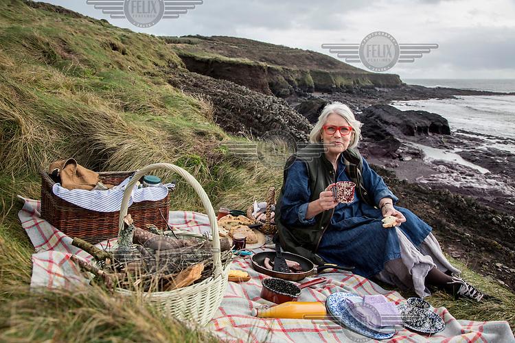 Irish chef and food writer Darina Allen eats a picnic, including Spotted Dog a traditional Irish soda bread, on the coast near her Ballymaloe Cookery School.