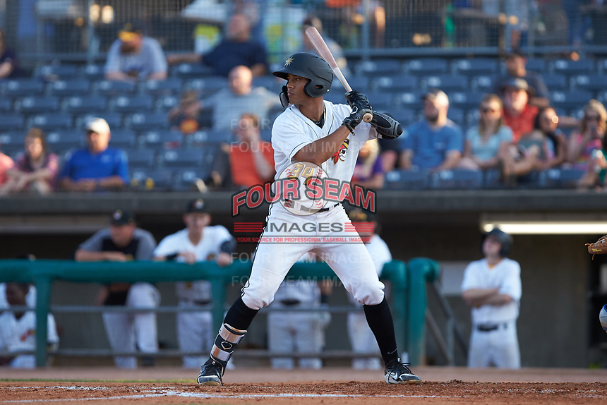 Calvin Mitchell (34) of the West Virginia Power at bat against the Lexington Legends at Appalachian Power Park on June 7, 2018 in Charleston, West Virginia. The Power defeated the Legends 5-1. (Brian Westerholt/Four Seam Images)