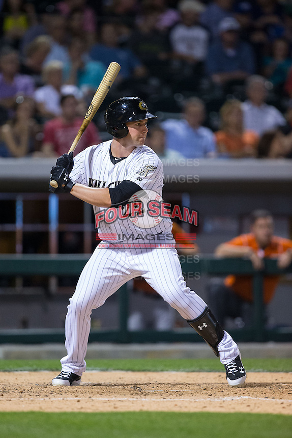 Matt Davidson (22) of the Charlotte Knights at bat against the Norfolk Tides at BB&T BallPark on April 9, 2015 in Charlotte, North Carolina.  The Knights defeated the Tides 6-3.   (Brian Westerholt/Four Seam Images)
