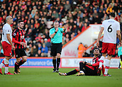 3rd December 2017, Vitality Stadium, Bournemouth, England; EPL Premier League football, Bournemouth versus Southampton; Referee Jonathan Moss  awards Bournemouth a free kick after Joshua King of Bournemouth is fouled by Wesley Hoedt of Southampton